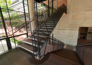 Intdoor wood Staircase With  Steel Handrail, Front View, Close Up