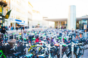 Intentionally blurred view of a lot of bike - transport, green, ecology concept