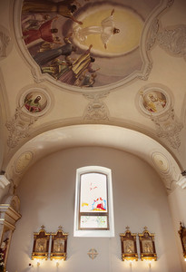 Interior of beautiful european church ready for wedding ceremony.