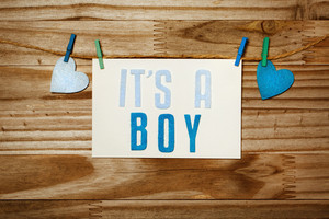 ITS A BOY card and felt hearts hanging with clothespins