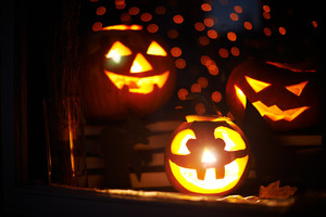 Jack-o-lanterns in a window