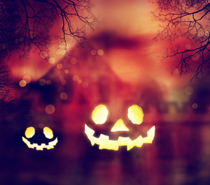 Jack O Lanterns with Autumn Scenery