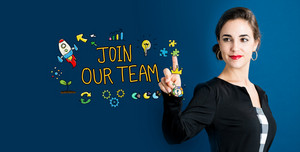 Join Our Team text with business woman on a dark blue background
