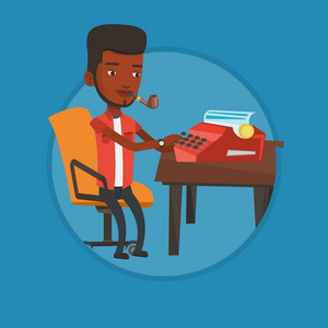 Journalist writing an article on a vintage typewriter. Journalist working on retro typewriter. Young journalist smoking pipe. Vector flat design illustration in the circle isolated on background.