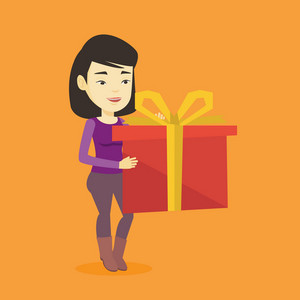 Joyful asian woman holding a box with gift in hands. Happy woman holding gift box. Young woman standing with gift box. Girl buying a present. Vector flat design illustration. Square layout.