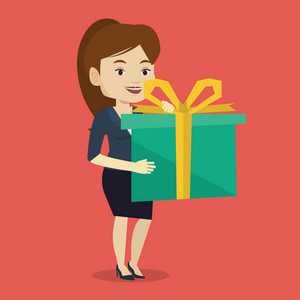 Joyful caucasian woman holding a box with gift in hands. Happy woman holding gift box. Young woman standing with gift box. Girl buying a present. Vector flat design illustration. Square layout.