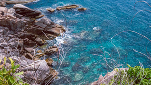 Koh Tao islands in Thailand. Blue clear Water hitting Rocks