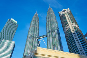 KUALA LUMPUR, MALAYSIA - 12TH December 2015; The Petronas Towers, also known as the KLCC are twin skyscrapers in Kuala Lumpur, Malaysia. They were the tallest buildings in the world from 1998 to 2004.