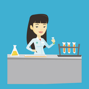 Laboratory assistant working with a test tube and taking some notes. Laboratory assistant analyzing liquid in test tube. Scientist holding a test tube. Vector flat design illustration. Square layout.