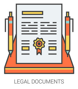 Legal documents infographic metaphor with line icons. Project legal documents concept for website and infographics. Vector line art icon isolated on white background.