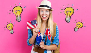 Light Bulbs illustration with young woman with flags of English speaking countries