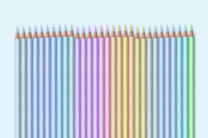 line of pastel colored pencils