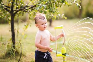 Little boy at the sprinkler, green sunny summer garden