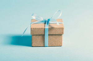 Little gift box on a blue background