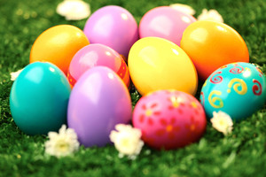 Macro of colored Easter eggs