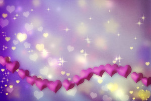 Magenta hearts on a purple shiny background