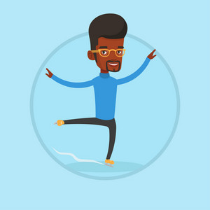 Male figure skater performing on ice skating rink. Young ice skater dancing. African-american male figure skater posing on skates. Vector flat design illustration in the circle isolated on background.