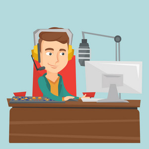 Male radio dj working in front of microphone, computer and mixing console on radio. Caucasian male radio dj in headset working on a radio station. Vector flat design illustration. Square layout.