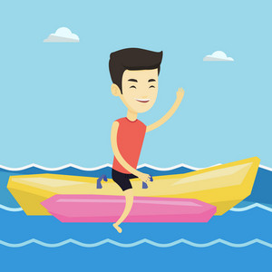 Male tourists riding a banana boat and waving hand. Young happy asian man having fun on banana boat in the sea. Man enjoying his summer vacation. Vector flat design illustration. Square layout.
