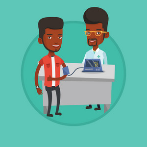 Man checking blood pressure with digital blood pressure meter and giving thumb up. Doctor measuring blood pressure of patient. Vector flat design illustration in the circle isolated on background.