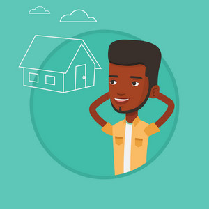 Man dreaming about future life in a new house. Man planning his future purchase of house. Man thinking about buying a house. Vector flat design illustration in the circle isolated on background.