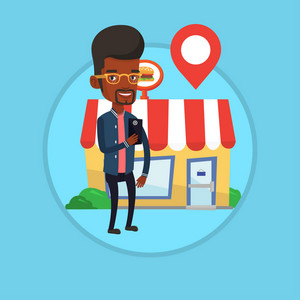 Man holding smartphone with application for looking for restaurant. Man using smartphone application for searching of restaurant. Vector flat design illustration in circle isolated on background.