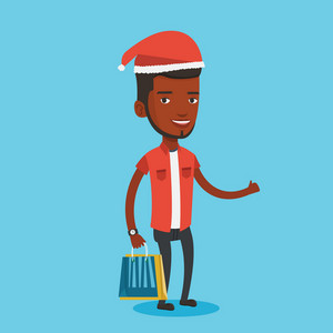 Man in santa hat holding shopping bags. African-american man carrying shopping bags. Guy with a lot of shopping bags. Young man buying christmas gifts. Vector flat design illustration. Square layout