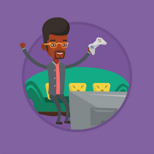 Man playing video game. Man with game console in hands playing video game at home. Man celebrating his victory in video game. Vector flat design illustration in the circle isolated on background.