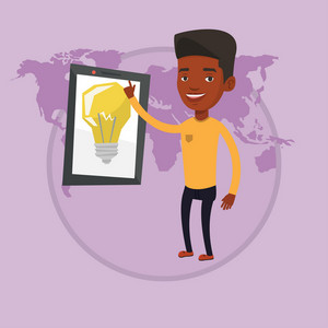 Man pointing at big tablet computer with idea bulb on a screen. Businessman working on a new business idea. Business idea concept. Vector flat design illustration in the circle isolated on background.