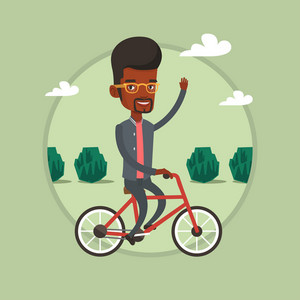 Man riding a bicycle in the park. African-american cyclist riding a bicycle and waving his hand. Young man on a bicycle outdoors. Vector flat design illustration in the circle isolated on background