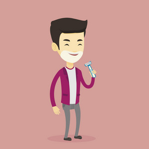 Man shaving his face. Smiling man with shaving cream on his face and razor in hand. Young man prepping face for daily shaving. Concept of daily hygiene. Vector flat design illustration. Square layout.