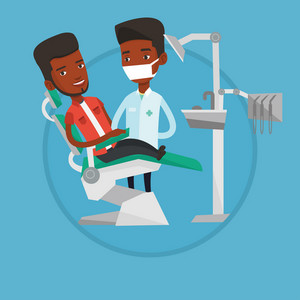 Man sitting in dental chair while dentist standing nearby. Doctor and patient in dental clinic. Patient on reception at dentist. Vector flat design illustration in the circle isolated on background.