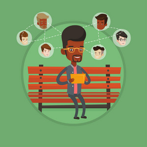 Man sitting on a bench and using a tablet computer with social network. Man surfing in the social network. Social network concept. Vector flat design illustration in the circle isolated on background.
