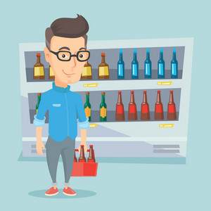 Man standing in alcohol store with pack of beer on the background of refrigerator with bottles. Man buying beer. Beer lover holding pack with bottles. Vector flat design illustration. Square layout.