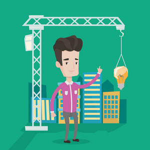Man standing on the background of construction site and pointing at light bulb hanging on crane. Concept of new ideas in town planning and architecture. Vector flat design illustration. Square layout.