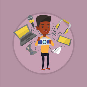 Man taking photo with digital camera. Man surrounded with gadgets. Man using many electronic gadgets. Man addicted to gadgets. Vector flat design illustration in the circle isolated on background.
