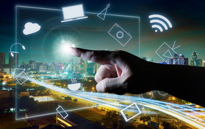 Man touching illustrating social media presentation with his finger on virtual screen , cyber concept background . city skyline background .