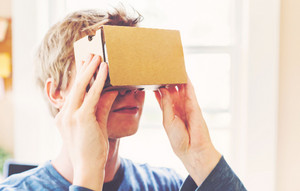 Man using a new virtual reality headset