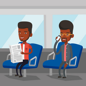 Man using mobile phone while traveling by public transport. African man reading newspaper in public transport. People traveling by public transport. Vector flat design illustration. Square layout.