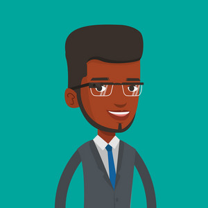 Man wearing wearable computer with an optical head-mounted display. Young african-american man in wearable computer. Smiling man using wearable computer. Vector flat design illustration. Square layout
