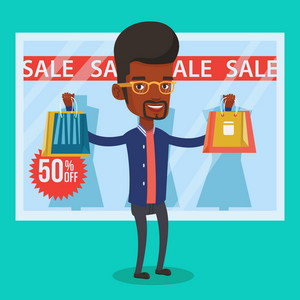 Man with shopping bags standing in front of clothes shop display window and sale sign. Man with shopping bags in front of window display with text sale. Vector flat design illustration. Square layout.