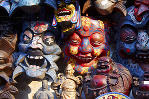 Masks display on a market stand on Beijing
