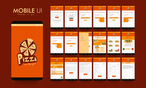 Material Design UI, UX and GUI kit for Online Food Order Mobile Apps with Login, Menu, Select Food (Pizza), Food (Pizza) Type, Detail Confirmation, Delivery Details, Payment Option and Order Placed Screens.