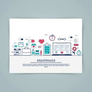 Medical laboratory, healthcare research and diagnostics web banner, hero image, website slider. Line art vector illustration.