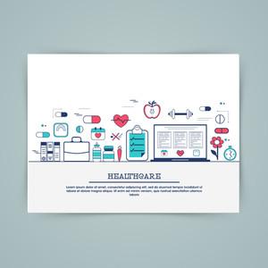 Medical laboratory, healthcare research and diagnostics web banner, hero image, website slider. Line art vector illustration.