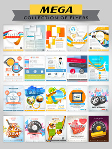 Mega collection of different Flyers including Medical Flyer, Business Flyer, Tourism Flyer, Automobile Flyer and Musical Party Flyer.