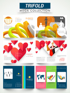 Mega collection of three fold flyer, template or brochure design for business and party purpose.