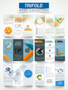 Mega collection of two sided professional three fold brochures or flyers presentation for your business.