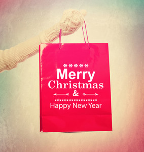 Merry Christmas and Happy New Year red shopping bag