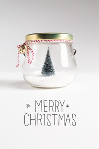 Merry Christmas message with Christmas tree in a glass Jar